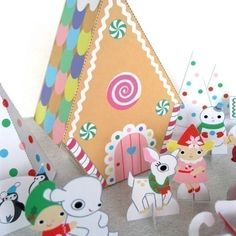 Gingerbread Cottage Playset Printable Paper Craft by FantasticToys