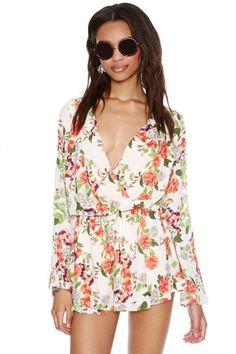 Floral Print Deep V-neck Long Sleeve Jumpsuit