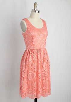 Book Fair and Square Dress. Its said that you cant judge a book by its cover, but we beg to make this coral pink dress an exception to the rule! #coral #modcloth