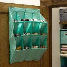 Over The Door Shoe Storage PB Teen. I like the way this works.have to see your closets. Laundry Room Storage, Door Storage, Closet Storage, Bag Storage, Storage Spaces, Storage Ideas, Bathroom Storage, Storage Solutions, Hanging Shoe Rack