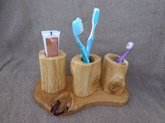 Wooden Toothbrush Holder Rustic Toothbrush Holder by Woodber