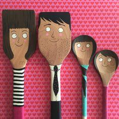 Monila handmade, illustration, illustrazione,spoons,cucchiai,diy,Family