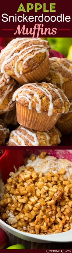 Apple Snickerdoodle Muffins - these are dreamy! The perfect fall muffin! Fall Deserts Recipes, Apple Recipes, Baking Recipes, Muffin Tin Recipes, Sweet Recipes, Dessert Recipes, Fall Desserts, Bread Recipes, Snickerdoodle Muffins Recipe