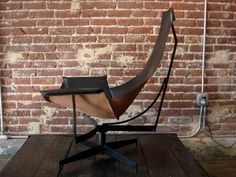 Leather and Iron Sling Chair