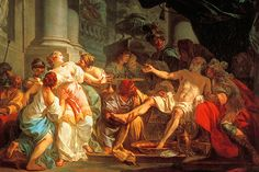 This painting by Jacques-Louis David portrays the death of Seneca. Seneca was  leading Stoic and the tutor of the insane Emperor Nero. Seneca was forced to commit suicide after being implicated in a plot to assassinate Nero.