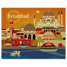 イスタンブールの街並み|ビンテージな味わいのレトロ風アートポスター by loosepetals