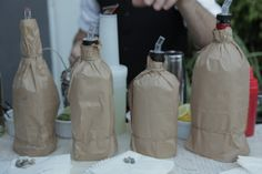 Cover up the Mimosa bar mixers and champagne in brown bags.
