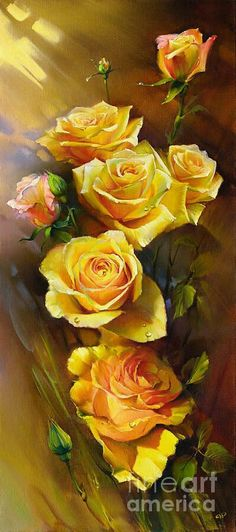 Yellow Roses by Roman Romanov - Yellow Roses Painting - Yellow Roses Fine Art Prints and Posters for Sale Art Floral, Rose Art, Yellow Roses, Pink Roses, Beautiful Paintings, Rose Paintings, Beautiful Roses, Belle Photo, Painting & Drawing