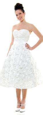 1950's Vintage Reproduction Ivory Gathered & Rose Tea Length Wedding Dress - XS to 2XL