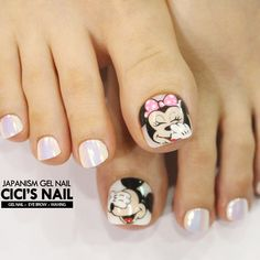 Minimalist Nails, Pedicure Nail Art, Toe Nail Art, Cute Toe Nails, My Nails, Nail Swag, Mickey Nails, Korean Nail Art, Feet Nails