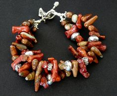 Red Jasper Teardrop and Coral Spike Bracelet with Silver Beads and Findings