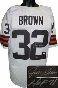 Jim Brown Autographed/Hand Signed Cleveland Browns White Prostyle Jersey HOF 71- JSA Hologram by Hall of Fame Memorabilia. $297.95. Jim Brown was taken in the first round of the 1956 draft by the Cleveland Browns. He was the first player ever to reach the 100-rushing-touchdowns milestone. Brown holds the record at 5 for total seasons leading the NFL in all-purpose yards. Brown retired far ahead of the second-leading rusher and remains the league's eighth all-time le...