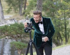LOVE GREEN!...Ready for action: David Beckham got behind the camera during filming for the new Haig Club...