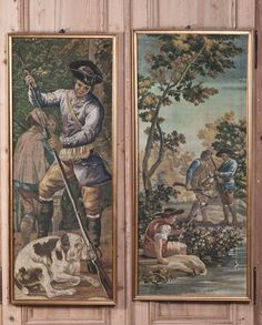 Pair Framed Sucre de Herb Tapestries | Antique Tapestries | Inessa Stewart's Antiques