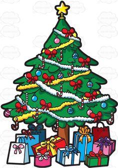 A Christmas Tree Full Of Presents Cartoon Clipart Vector Vectortoons Happy New Year Christmas Plates, Pink Christmas, Christmas Balls, Christmas Tree With Presents, Christmas Tree Decorations, Golden Star, Stock Art, Candy Cane, Instagram Cartoon
