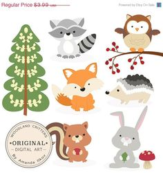 *** Black Friday - Cyber Monday Save 25% Shop Wide ***     This is a set of 9 woodland critter images, professionally drawn by me. Includes fox clip