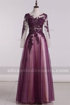 2017 A Line Tulle Plum Lace Long Sleeve Formal Prom Dresses Plum Prom Dresses, Prom Dresses Long With Sleeves, Long Bridesmaid Dresses, Dress Long, Party Dresses, Wedding Attire For Women, Formal Wedding Attire, Formal Prom, Formal Suits
