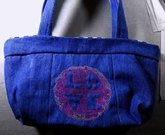 Large 12 x 8 Lined Denim Tote Bag with Light-Stitched Love Design