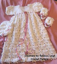 Häkelanl... für Baby... Taufe Kleid, Bonnet und Booties-16