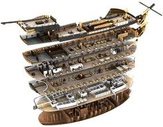 Layout of a sailing warship Model Sailing Ships, Old Sailing Ships, Model Ships, Model Ship Building, Boat Building, Hms Victory, Ship Of The Line, Wooden Ship, Navy Ships