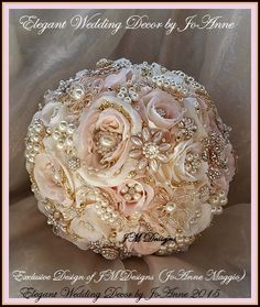 Gorgeous Custom Rose Gold Bridal Brooch Bouquet - $495.00 Full Price ***************************************************** ____BROOCH BOUQUET DETAILS_______ - 9.5 Brooch Bouquet in Blush Pink and Ivory Silk Flowers, with Rose Gold and Gold Brooches and Gems. - Elegant, Handmade Brooch Bouquet Design, Looks Stunning with just about any color scheme. Gorgeous Design !!! - Exclusive Design of Elegant Wedding Decor by JoAnne - Please do allow 5-8 Weeks for the production of your Brooch Bouquet…