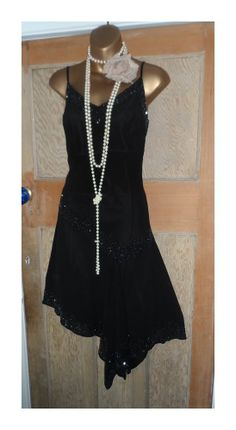 JMD black charleston great gatsby flapper 20s look ladies party dress size 12