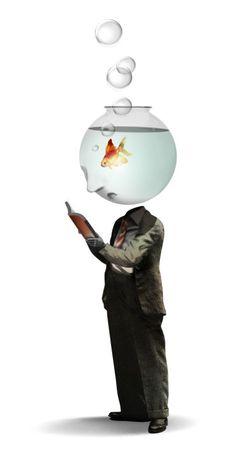 Brett Ryder , Illustrations  - (Face man is fishbowl with goldfish)