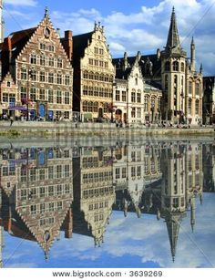 Photo about Gabled houses along a canal in Gent, Belgium with reflection on the water. Image of europe, spires, canal - 6417586 Places In Europe, Places Around The World, Oh The Places You'll Go, Places To Travel, Places To Visit, Around The Worlds, Visit Belgium, Ghent Belgium, Excursion