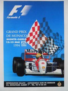 Original poster of the Grand Prix Automobile F1 of Monaco in 1994 - W.B.