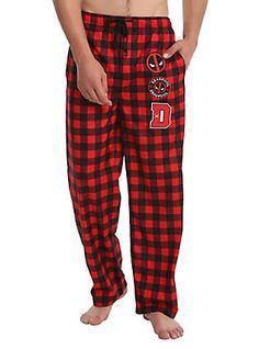 Marvel Deadpool Patch Plaid Guys Pajama Pants 26c0581df