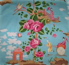 SCALAMANDRE Chinoiserie CHINA ROSE Geisha Toile Fabric by elegantfabrics1