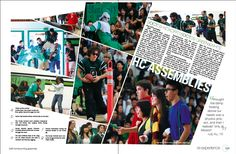 October 2009. Homecoming Assembly page in high school yearbook //A really creative homecoming layout that is very different, but still keeps white space minimal and clean.