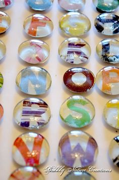 Make your own ABC refrigerator magnets. What you will need: letters cut from old magazines, or use white paper with letters printed out OR White paper with alphabet stickers placed on top.  2 bags smooth round glass stones-  26 Magnets,  e6000 glue,   mod podge,   scissors