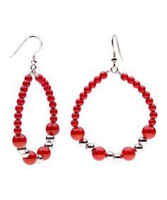 Coral & Sterling Silver Beaded Teardrop Earrings #zulily #zulilyfinds