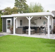 Lugarde rechthoekig tuinhuis met brede overkapping - TP47B - platdak - 660x300 cm – deur met dubbelglas