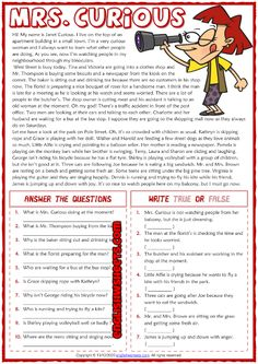 6th Grade Worksheets, Reading Worksheets, Grammar Worksheets, 6th Grade Reading, Reading Test, Reading Skills, Present Continuous Worksheet, Present Continuous Tense, Reading Comprehension For Kids