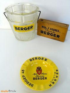 Objet Pub ... BERGER Midi 7h... l'heure du Berger - Seau à glace, porte cartes, cendrier ... www.mulubrok.fr ...