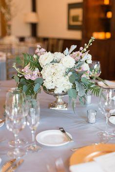 white and pink wedding centerpiece idea