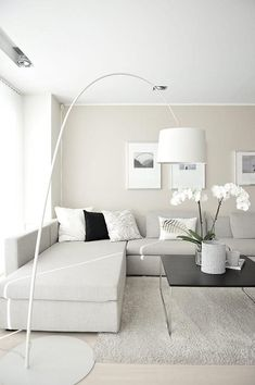 New living room white couch modern Ideas Beige Living Rooms, Living Room White, White Rooms, Living Room Colors, New Living Room, Interior Design Living Room, Living Room Designs, Cozy Living, White Walls