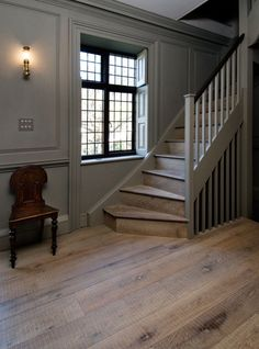 Oak Tate with its band-sawn texture, works well in a traditional or modern setting. Solid Wood Flooring, Timber Flooring, Hardwood Floors, Style At Home, Halls, Georgian Homes, Piece A Vivre, Stairways, Architecture