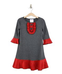 Look at this Freckles + Kitty Charcoal Button Ruffle Dress - Toddler