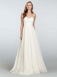 A-line Spaghetti Straps Chiffon Sweep Train White Lace Wedding Dresses