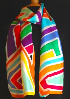 Vibrant and bold geometric silk scarf by FantasticPheasant on Etsy, $35.00
