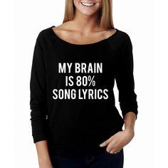 Metallic Gold Print New My Brain Is 80 Song Lyrics Wide Neck Shirt... ($22) ❤ liked on Polyvore featuring tops, grey, sweatshirts, women's clothing, raglan shirts, grey top, print shirts, grey shirt and destroyed shirt