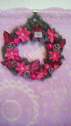 Handmade Red artificial Christmas wreath