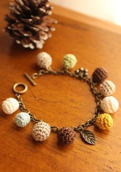 Another great idea for crochet beads added to an antique finished chain bracelet.