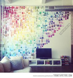 If you can't paint your walls, use paint samples…