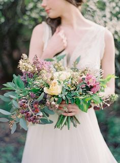 lilac and yellow organic bridal bouquet  #weddingflowers