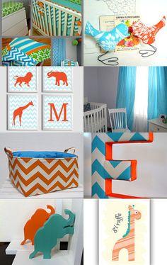Orange & Aqua Nursery --Pinned with TreasuryPin.com  Jess - cute elephant bookends and blue/orange animal art
