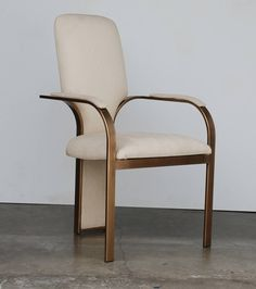 Sculptural Milo Baughman Style, Set of Four Brass High Back 1970s Dining Chairs 6